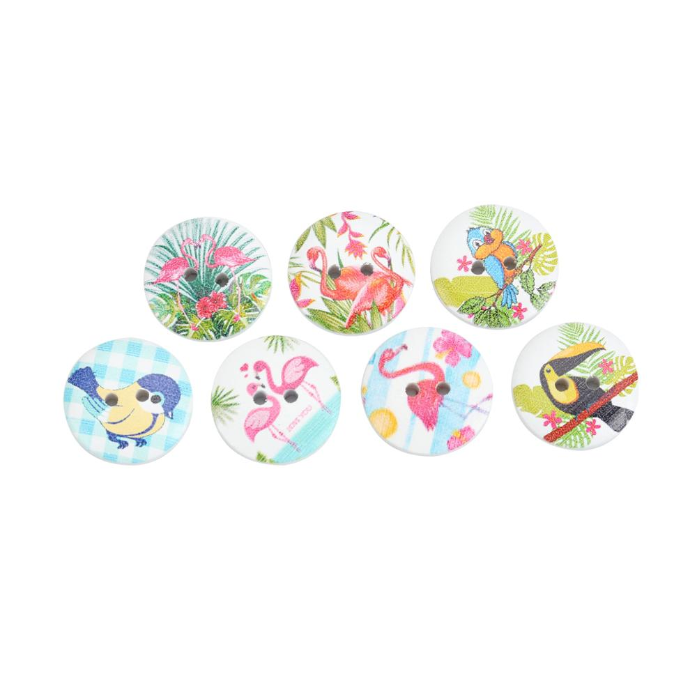 50 Wooden Cartoon Bird  Buttons 20mm Different Colours Two Tone