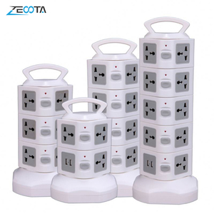 Image 1 - Tower Power Strip Vertical Surge Protector Multi Socket Electrical Plug Outlet Dual USB Universal Jack Outlets 3m Extention Cord