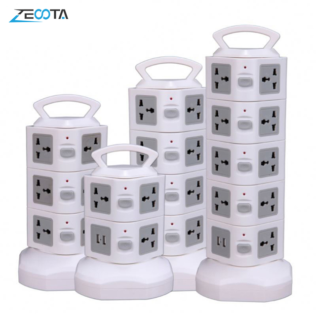 Tower Power Strip Vertical Surge Protector Multi Socket Electrical Plug Outlet Dual USB Universal Jack Outlets 3m Extention Cord
