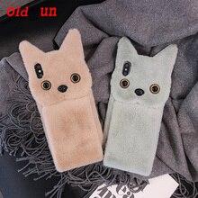 2019 moda superior anti knock quente inverno cabelo curto para gato iphone11 telefone móvel quente pulso de pelúcia para iphone 8 plus saco bonito