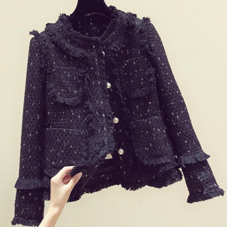 Tweed Small Fragrance Blazer Women Autumn Winter New Fashion Short Ladies Beaded Tassel Woolen Suit Jacket