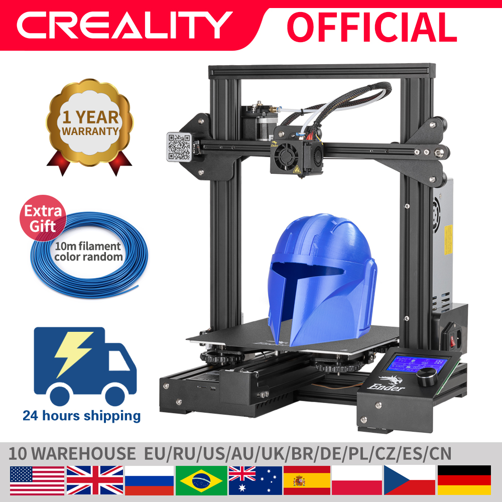 Creality 3d Ender 3 pro impressora máscaras de impressão placa de construção magnética retomar impressão falha de energia kit diy meanwell fonte alimentaçãoImpressoras 3D   -