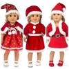 43cm Baby New Born Doll Clothes Christmas Red Dress for 18 Inch Girl Doll Clothes Santa Claus Suit Baby Girl Xmas Gifts