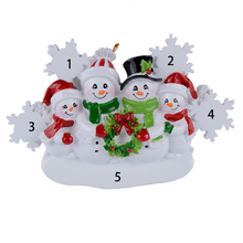 Snowman Family of 4 Resin Hang Christmas Ornaments With Glossy Snowflake As Craft Souvenir For Personalized Gifts or Home Decor