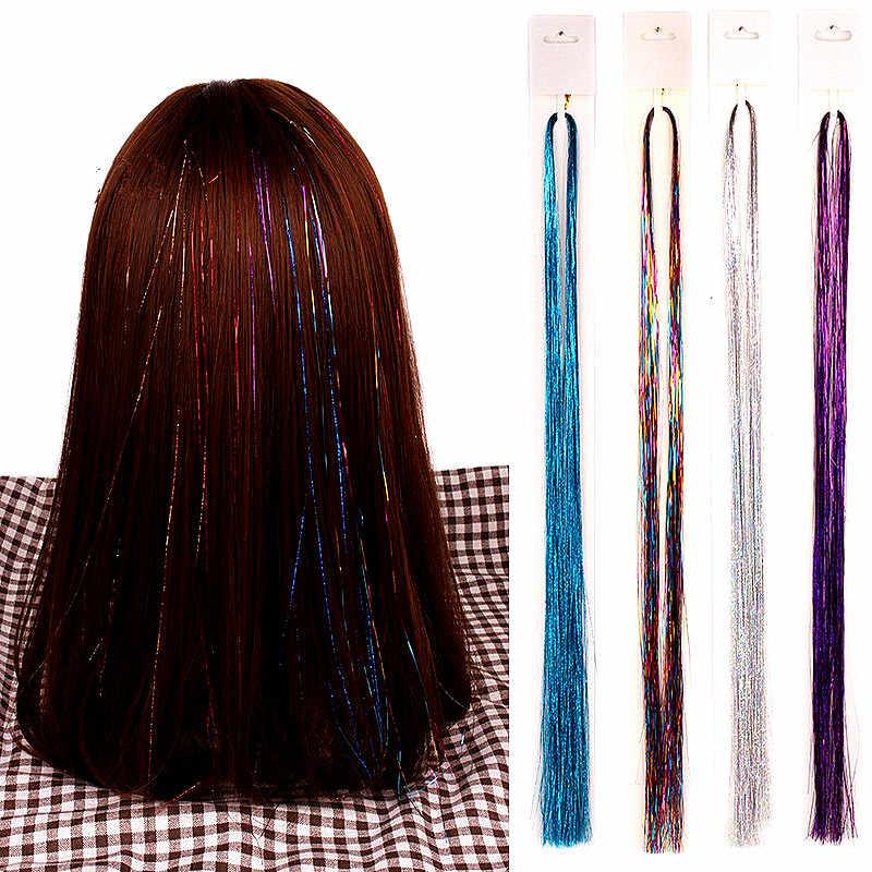 16 สี 90 ซม.PARTY Holographic อุปกรณ์เสริมผม Glitter ผม Tinsel Sparkle Extensions 150 Strands Bling Twinkle Hair EXTENSION