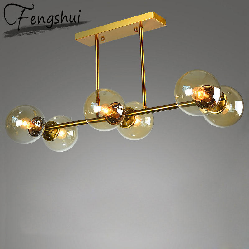 Nordic Iron Glass Pendant Lights Lighting Molecule Pendant Lamp Living Room Bedroom Restaurant Kitchen Fixtures Hanging Lamp