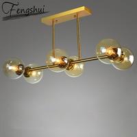 Nordic Iron Glass Pendant Lights Lighting Molecule Pendant Lamp Living Room Bedroom Restaurant Kitchen Fixtures Hanging Lamp