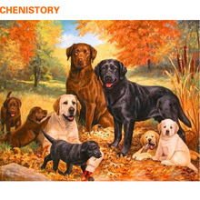 CHENISTORY DIY Painting By Numbers Frame Acrylic Paint By Numbers Dogs Animals Wall Art Picture By Numbers For Home Decor 60x75