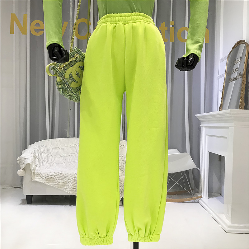 2020 New Spring Candy-colored Casual Pants Women's Loose Straight Trousers Female Students Elastic Waist Sports Pants Students