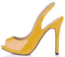 лучшая цена Summer New 11cm High Heeled Sandals Fashion Women Sandals Stiletto Thin heel Slingback Peep Toe Sexy Party Dress Lady Shoe 1-11