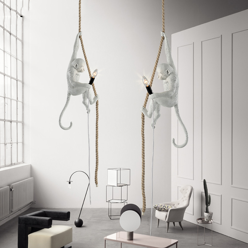 Nordic Gold Resin Monkey Lamp Led Pendant Lights Living Room Restaurant Bedroom Luminaire Kitchen Fixtures Suspension Lighting