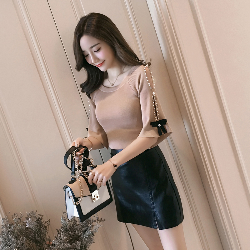 Lucyever Knitted Women Blouse Fashion Bow Autumn Half Sleeve Korean Sexy Off Shoulder Shirts Casual O Neck Elegant Slim Top 2021