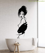 Vinyl wall applique sexy nude girl geisha Japanese Asian woman fashion sticker, home bathroom wall decoration  NH09 комод мо рост комод сибирь