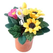 Play-Toy Dollhouse-Decor Bonsai-Model Miniature Flowers Fairy-Garden-Ornament Pot Potted