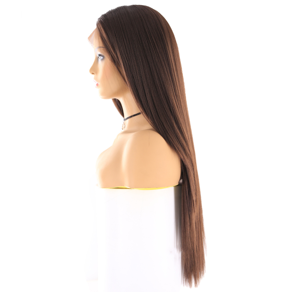 Image 3 - Yaki Straight Synthetic Lace Front Wigs For Women Brown Black Color Hairpiece With Natural Hairline Heat Resistant Fiber X TRESSSynthetic Lace Wigs   -