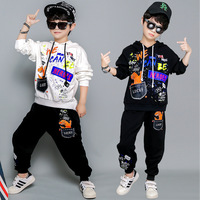Boys Fall Long Sleeve Clothing Set Children's Cartoon Printing Sweater Suit Teenager Kids Fashion Breaking Dancing Clothes P102