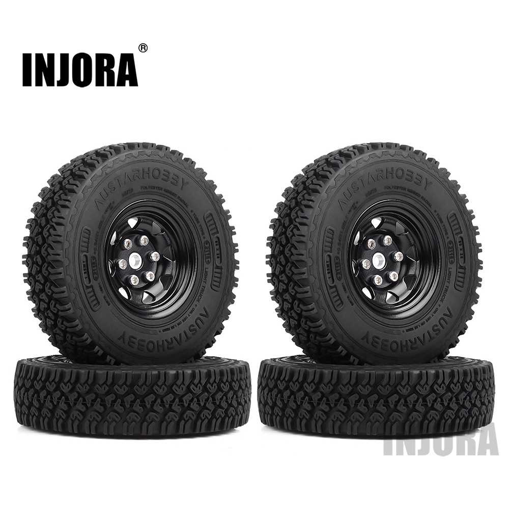 INJORA Metal 1.55 Beadlock Rim & Rubber Wheel Tires 90*24mm For RC Crawler Car D90 TF2 Tamiya CC01 LC70 MST JIMNY Axial 90069