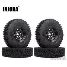 INJORA Metal 1.55 Beadlock Rim & Rubber Wheel Tires 90*24mm for RC Crawler Car D90 TF2 Tamiya CC01 LC70 MST JIMNY Axial 90069