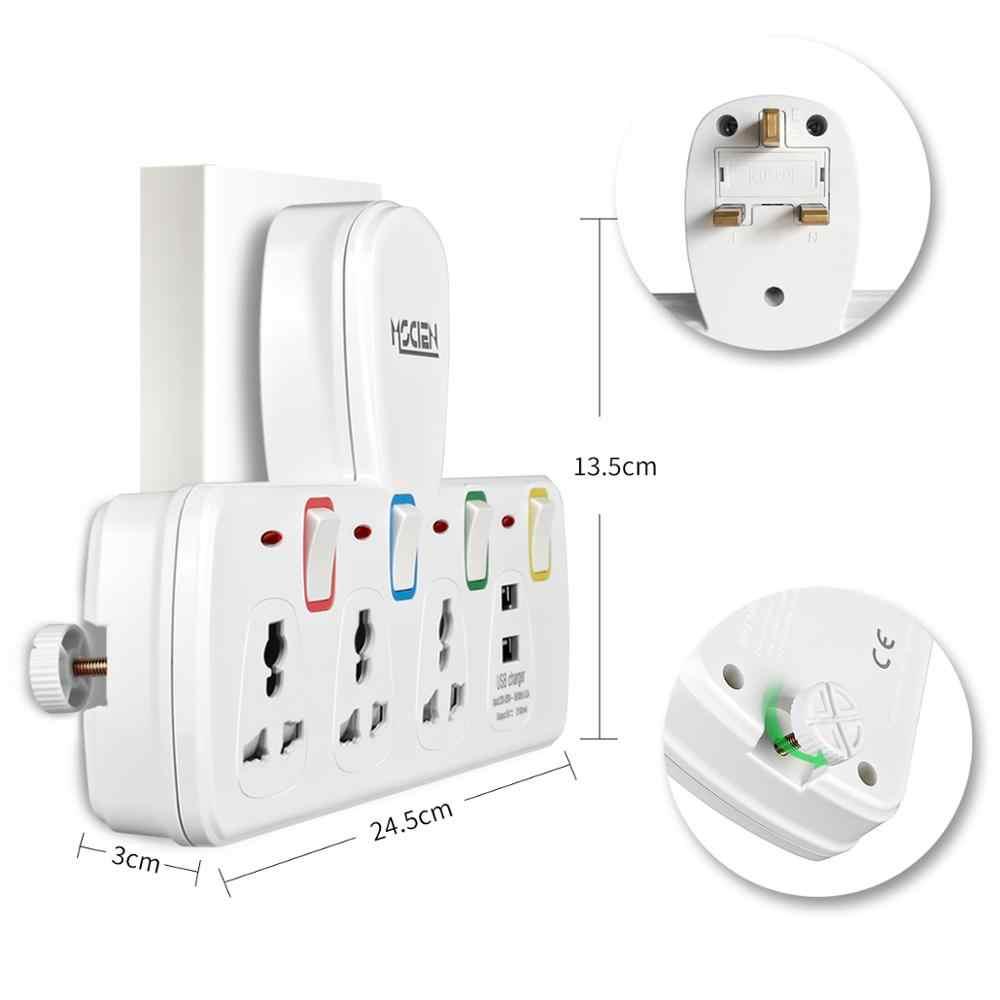 Mscien 3 Way Разъем расширения с 2 портами (стандарт Multiplug зарядное гнездо расширения с индивидуально переключателей и неоновые индикаторы 13Amp внешних