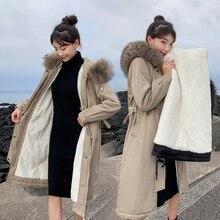 Yeni kış aşağı ceket kadın han baskı uzun over the diz gevşek gösterisi ince bel parker kürk ceket