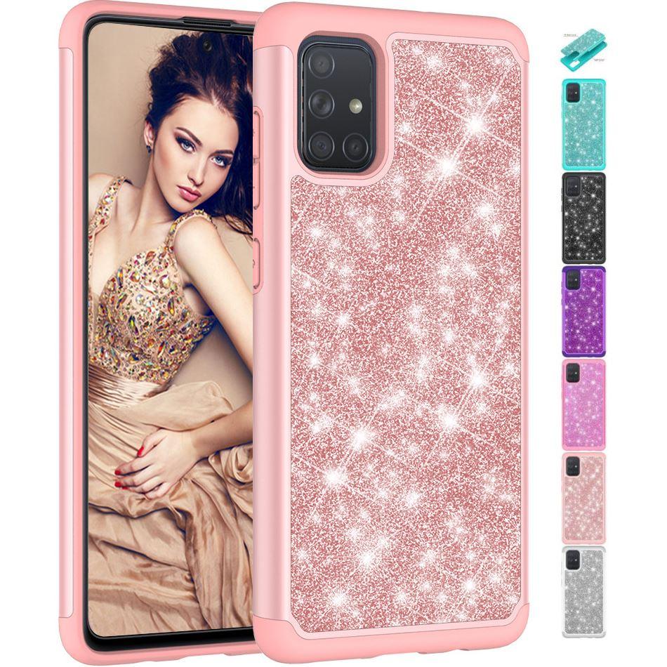 2In1 Cute Glitter Lady Phone Case For LG V40 Thinq G7 G8 Q7 K10 2017 2018 K30 2019 K40 K20 K12 Plus 2In1 Protect Back Cover V03F