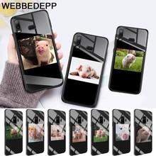 Funny Cartoon Pig Coque Glass Case for Samsung S7 Edge S8 S9 S10 Plus A10 A20 A30 A40 A50 A60 A70 Note 8 9 10 стоимость