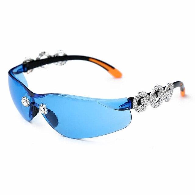 Crystral Sunglasses Women Men Fashion Personlity Windshield UV Protection Blu Yellow UV400 Mirror Feminino De Sol Gafas 3
