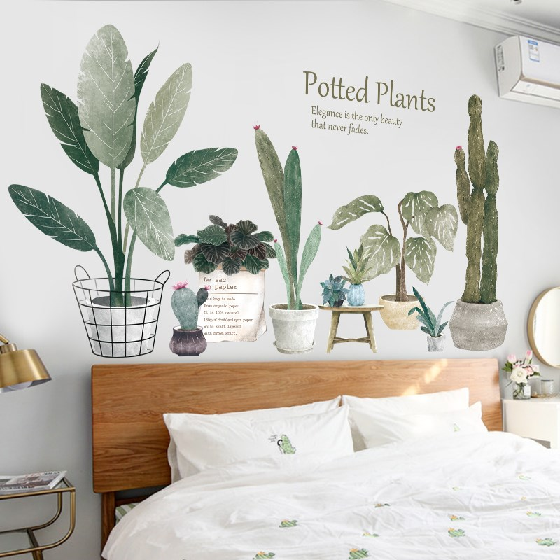Nordic Potted Plants Decorative Wall Stickers For Living Room Background Plants Fresh Art Bedroom Bedside Wallpaper Room Decor Leather Bag