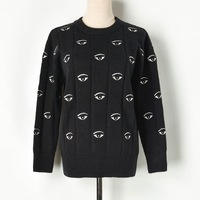Women 2019 Autumn Winter Pullovers Black Eyes Embroidery Sweaters O neck Runway Designer Loose Womens Knitted Pullover Mujer