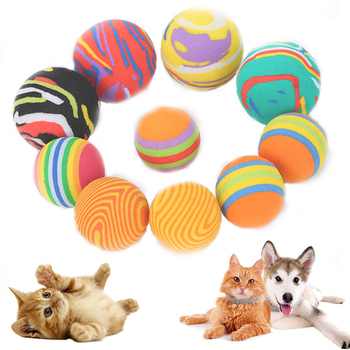 Rainbow cat toy ball interactive kitten pet ball self-hey toy ball pet training supplies tooth cleaning ball color random TSLM1 image