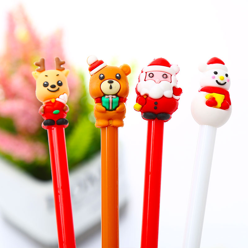 Creative Christmas Cartoon Gel Pen Blue Ink Santa Claus Church Cross Bear Deer Snowmen School Stationery Stationary Wedding Gift