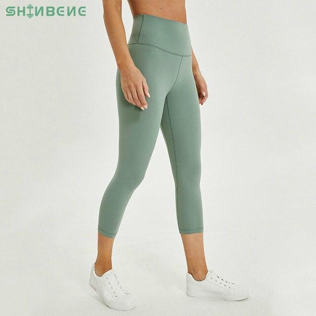 SHINBENE 2.0 Buttery yumuşak çıkarın hissi atletik spor Cpari pantolon kadın dört yönlü streç spor Yoga spor kırpılmış tayt