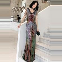 Вечернее платье, длина до пола, женские вечерние платья, двойной v-образный вырез, Платье De Soiree, без рукавов, с блестками, вечерние платья F218