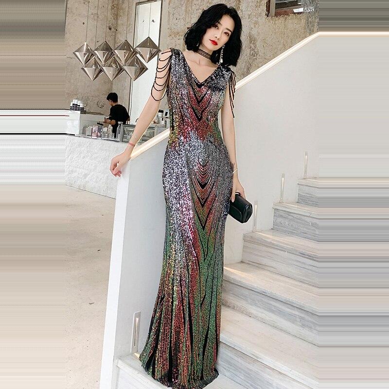 Evening     Dress   Floor Length Women Party   Dresses   2019 Double V-neck Robe De Soiree Sleeveless Sequin Formal   Evening   Gowns F218