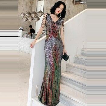 Evening Dress  Floor Length Women Party Dresses 2019 Double V-neck Robe De Soiree Sleeveless Sequin Formal Evening Gowns F218 аксессуар чехол samsung galaxy a7 2017 borasco silicone transparent