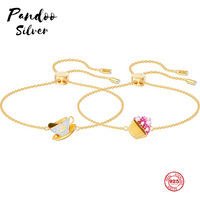 PANDOO Fashion Charm Pure 925 Silver Original 1:1 Copy, Small Cake Coffee Combination Wild Bracelet Female Luxury Jewelry Gifts