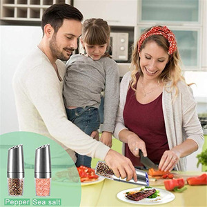 Image 5 - 2 PCS Electric Pepper Mill Gravity Salt and Pepper Grinder Set with Metal Stand Battery Salt Shakers Automatic Peper, spice mill