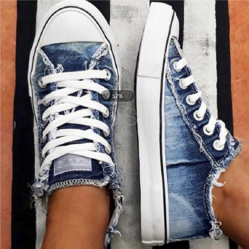 Women Sneakers Shoes New Lace-Up Canvas Denim For Women Vulcanize Shoes Casual Fashion Warm Dad Shoes Platform Sneakers Basket