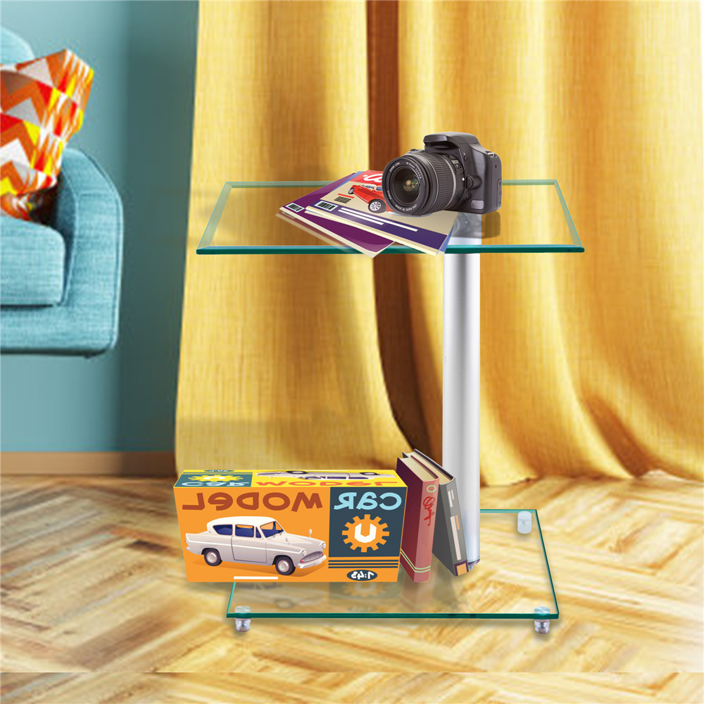 Home Side Tables Furniture Clear Glass End Table Living Room Table 2 Tier Square Glass Minimalist Office Magazine Storage Shelf - 6