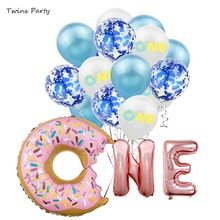 Twins Party Rose Gold  One Letter Balloons Donut Theme First Birthday 1st Decor Kids Baby Shower Girl