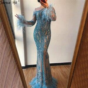 Image 5 - Azul manga longa penas lantejoulas vestidos de noite dubai sereia vestidos de noite luxo 2020 sereno hill la60932