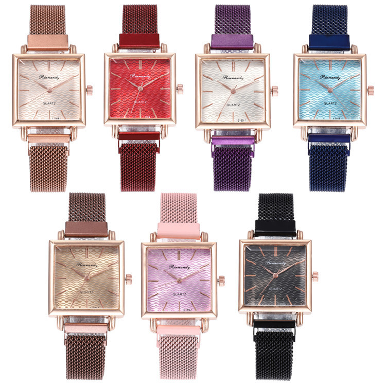 Milan Fashion Belt Series Bracelet Watch Article Exquisite Multicolor Square Nail Surface Watch Joker Lady Wrist Watch