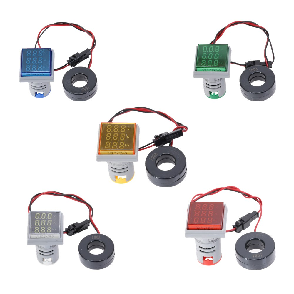 22mm Mini Indicator Led Light Lamp Digital Volt Amp HZ Measuring Rang AC50-500V 0-100A 0-99Hz Meter