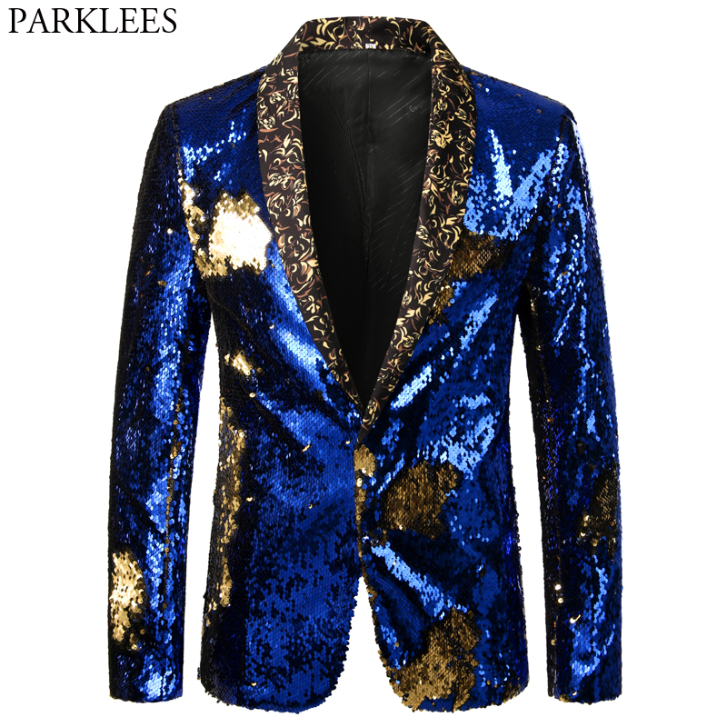 Shiny Royal Blue <font><b>Sequin</b></font> Glitter <font><b>Blazer</b></font> <font><b>Jacket</b></font> <font><b>Men</b></font> Shawl Lapel Club DJ Dress <font><b>Blazer</b></font> <font><b>Mens</b></font> Wedding Party Prom Stage Singers Costume image