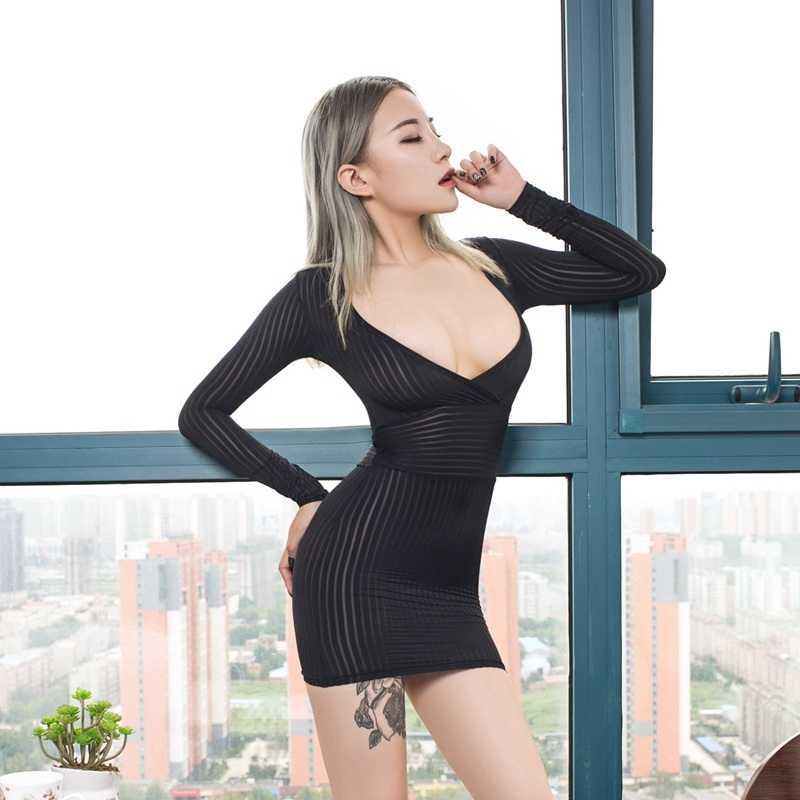 <font><b>Sexy</b></font> Deep V Long Sleeves Striped Micro Mini <font><b>Dress</b></font> Tight Pencil Cute Pack Hips <font><b>Dress</b></font> <font><b>Transparent</b></font> <font><b>Night</b></font> <font><b>Club</b></font> Erotic <font><b>Dress</b></font> image