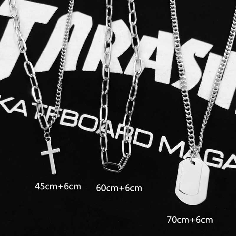Łańcuch w stylu hip-hop mężczyźni kobiety para naszyjniki naszyjnik wodoodporne mężczyźni Link Curb naszyjnik łańcuszkowy hip hop biżuteria krzyż łańcuch naszyjniki