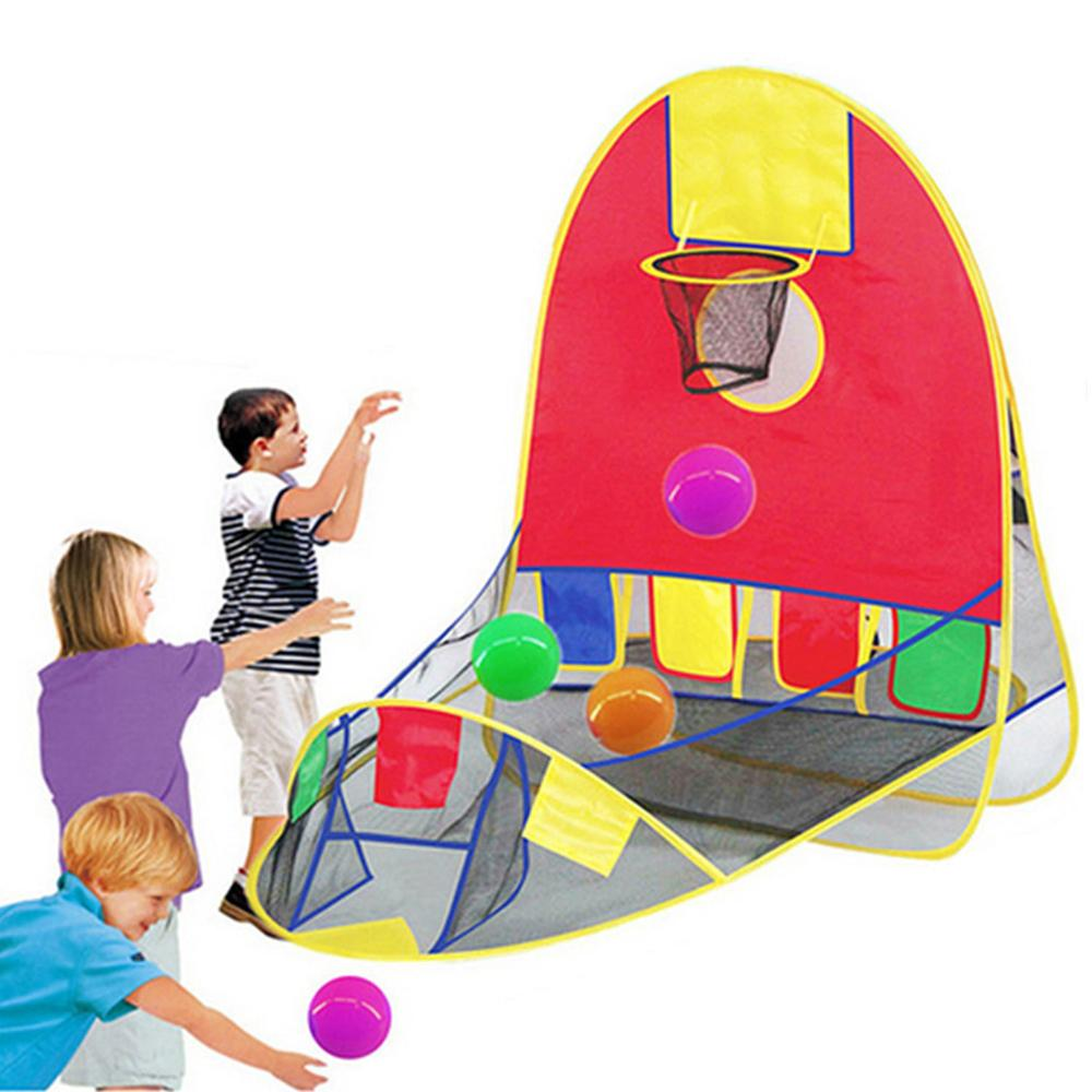 Foldable Pop Up Sports Goal Basketball Shooting Tent Play House With 4 Ocean Balls For Kids Indoor Outdoor Large Space Play Toys