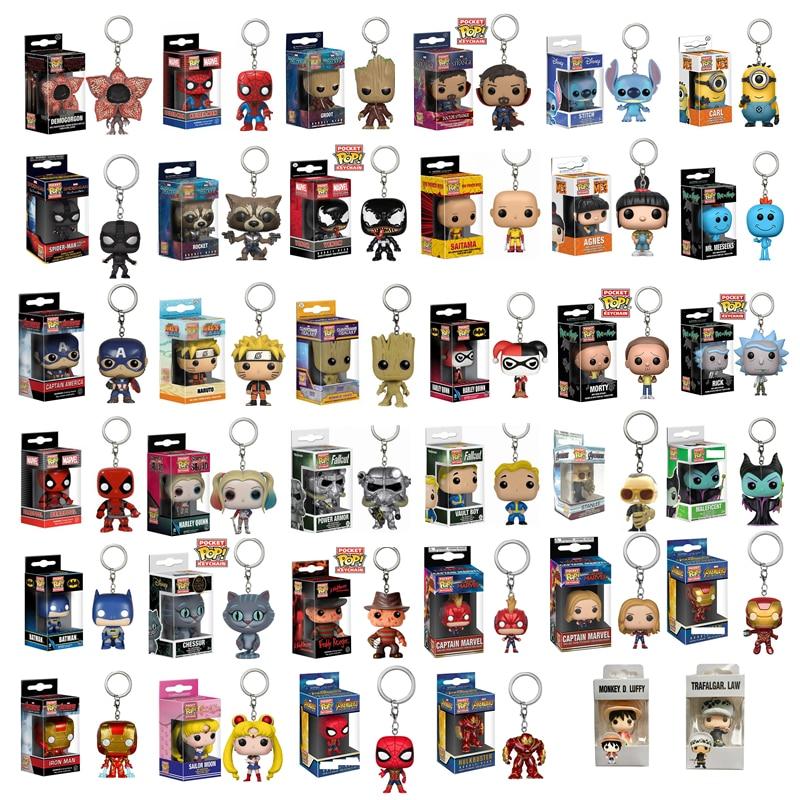 Funko Pop Marvel Captain America Iron Man Doctor Strange Key Chain Action Figure Naruto Deadpool Key Rings Kid Toys Original Box