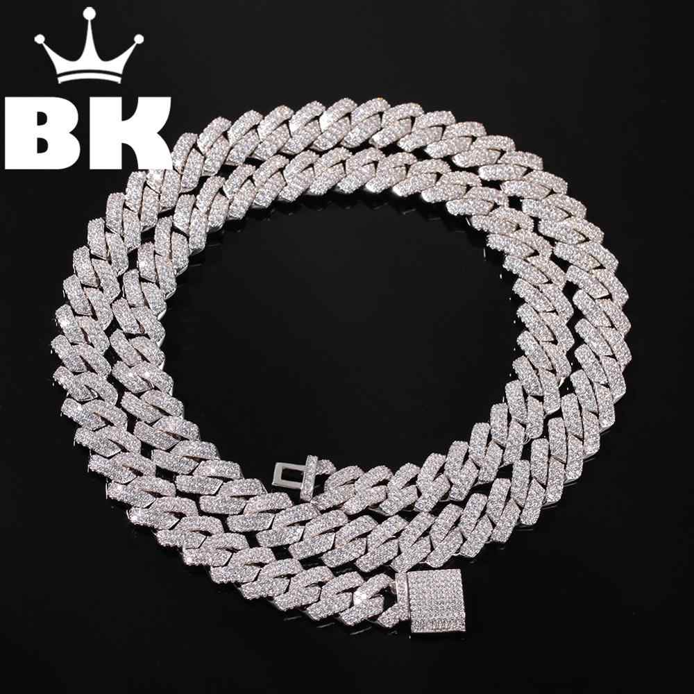 13 มม.2Row Zircon Miami Cuban Link สร้อยคอ Silver Plated Luxury ทองแดง Micro Paved CZ Cuban CHAIN 16/ 18/20/22/24 นิ้ว