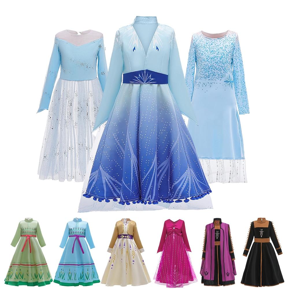 Elsa Dress New Dress For Girls Princess Christmas Cosplay Anna Dress Princess Set Birthday Party Long Sleeve Dress Queen